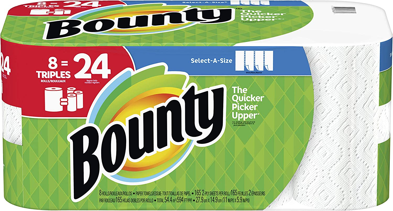 8 Triple Rolls Equals 24 Rolls Bounty Select-A-Size