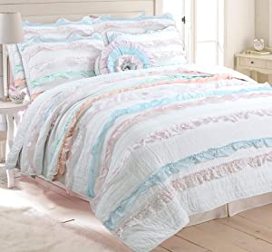 Cozy Line Home Fashions Emma Light Pink Blue Coral Girly Romantic Lace Bold Striped Ruffle Quilt Bedding Set, 100% Cotton Reversible Coverlet Bedspread Set (Pink/Blue, Full/Queen -3 Piece)