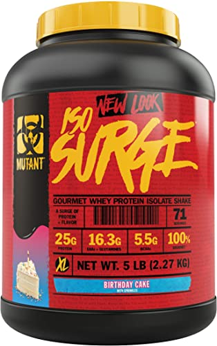 Mutant ISO Surge Whey Protein Powder Acts Fast to Help Recover, Build Muscle, Bulk and Strength, Uses Only High Quality Ingredients, 5 lb – Birthday Cake