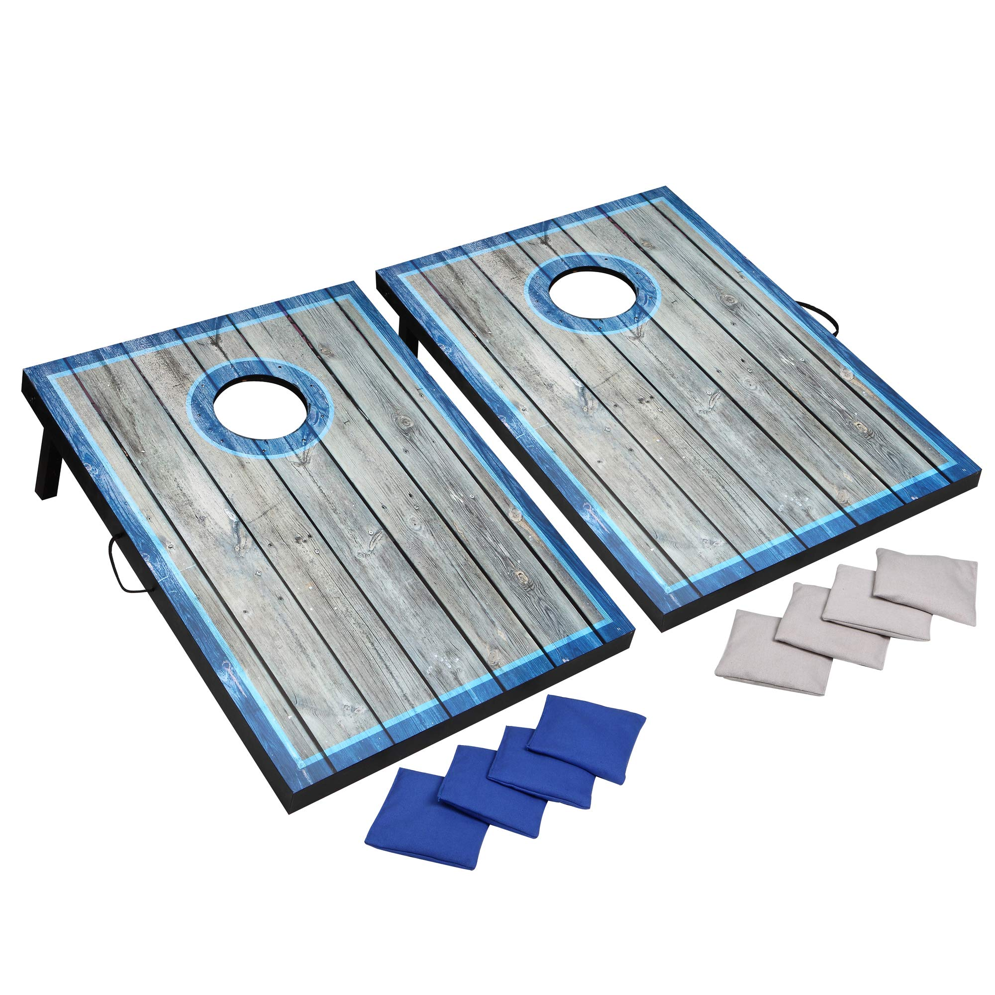 Hathaway LED Cornhole Set with Rustic Target Boards & 8 Bean Toss Bags, Lighted Target Areas, Carry Handles for Portability - Blue/White by Hathaway