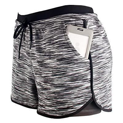 RIBOOM Women Workout Running Shorts 2 in 1 Active Yoga Gym Sport Shorts with Pockets: Clothing