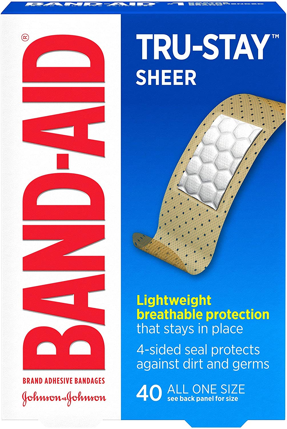 Band-Aid Brand Tru-Stay Sheer Strips Adhesive Bandages for First Aid and Wound Care, All One Size, 40 ct: Health & Personal Care