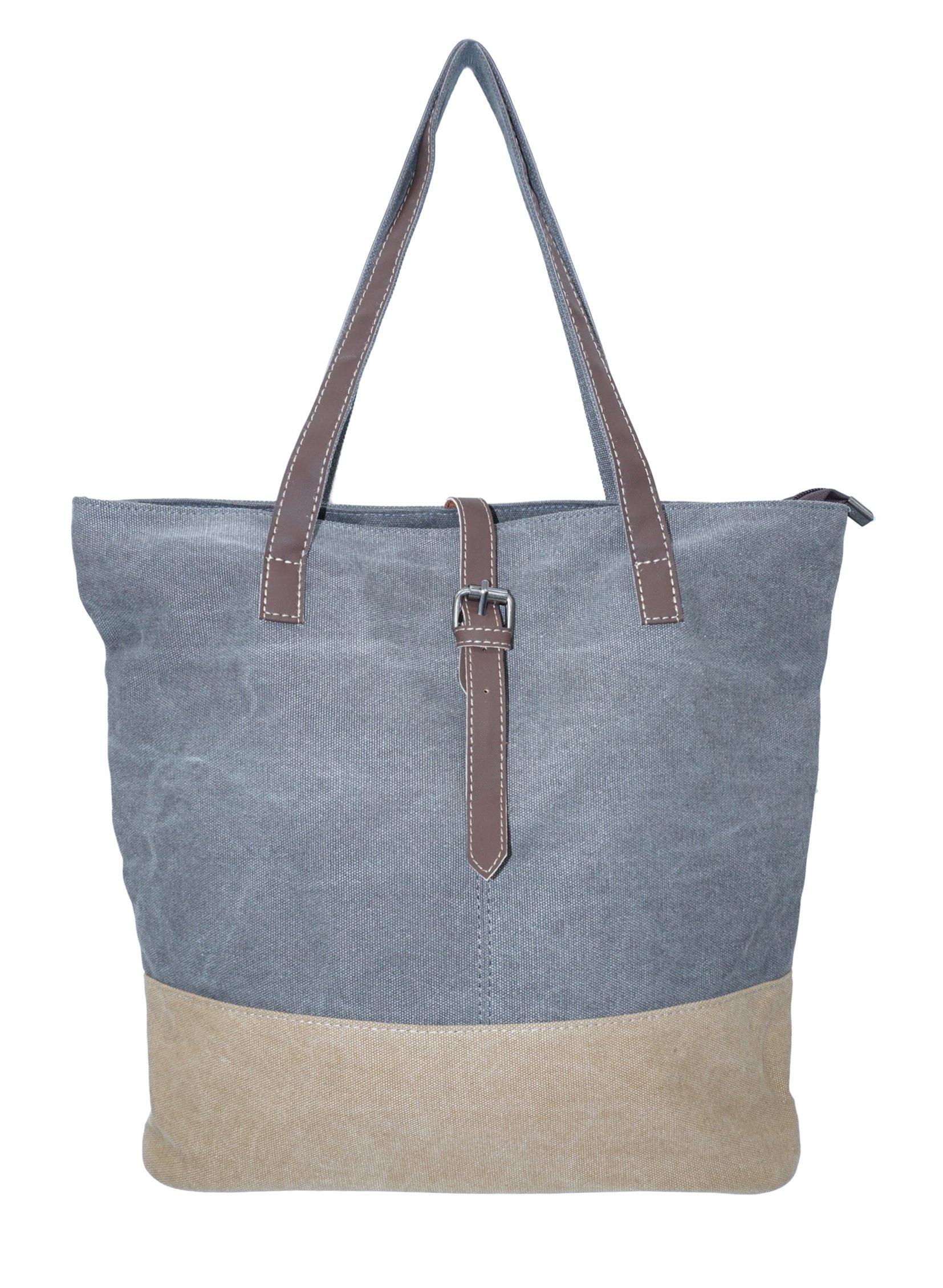 Canvas Tote Bag Fashion Shoulder Handbag Shopping School Pockets (Grey)