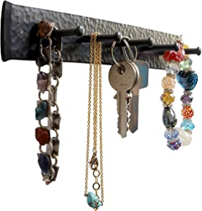Wrought Iron Key Holder for The Wall – Handmade Hat, Towel, Leash, Jewelry and Keys Rack, Wall Hangers with Anchors and Screws – Rustic, Sturdy, Easy-to-Install Farmhouse Wall Decor, 10x1.2x1.2 in.