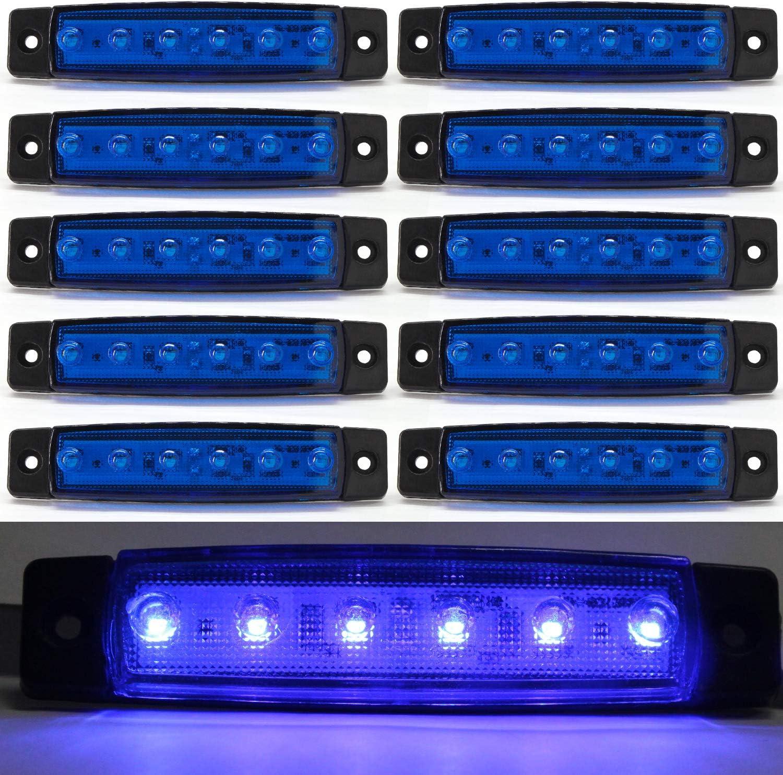 Luces de marcador lateral de LED,Indicadores de posición Azul 12V Impermeable Lámparas laterales led para camión remolque Lorry Cab Bus Barco Tractor autocaravana 10pcs