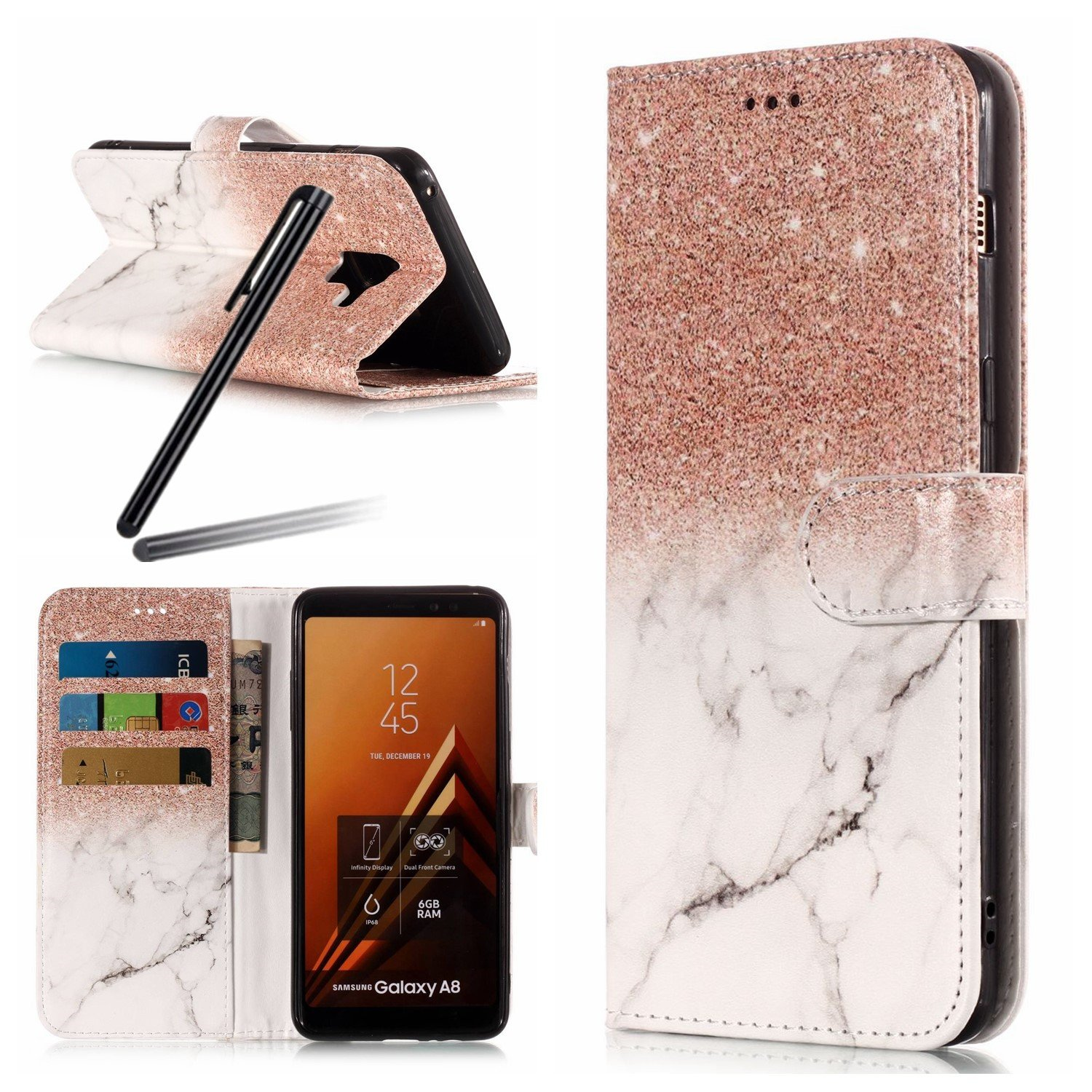 A8 Plus 2018 Case, Samsung Galaxy A8 Plus 2018 Wallet Case, Galaxy A8 Plus 2018 Kickstand Case, SKYMARS Marble Creative Design PU Leather Shock Absorbing Bumper Kickstand Cards Slot Wallet Magnet Stand Flip Folio Cover Case for Samsung Galaxy A8 Plus 2018