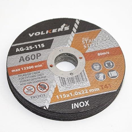 Discos de corte de acero inoxidable (10 unidades, 115 x 22,2 ...