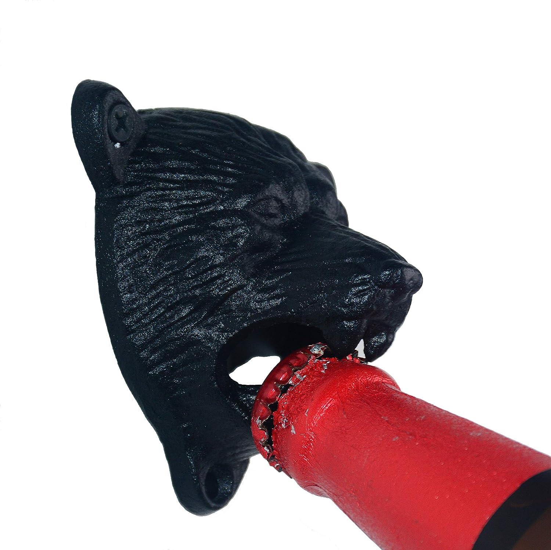 Black, Metel Alloy Aokbean Vintage Wall Mounted Beer Bottle Opener with Screws