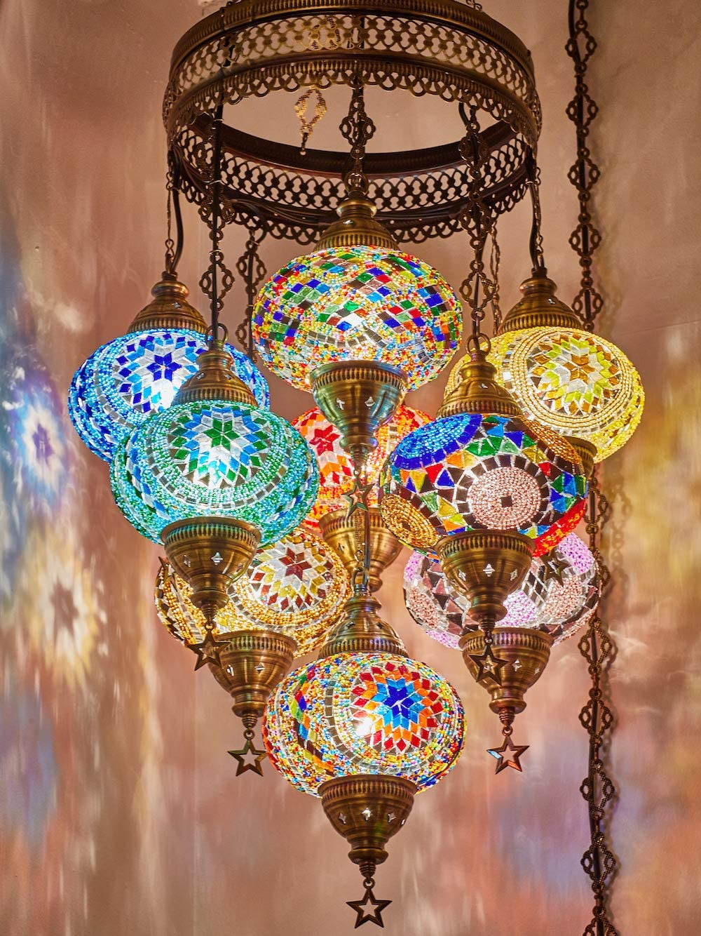Customizable Globes DEMMEX 2019 Hard-Wired or PLUGIN 1,3,5,7,9 Globes Chandelier Lights Turkish Moroccan Mosaic Ceiling Hanging Pendant Chandelier Light Lighting 9 Big Globes PlugIN, 41