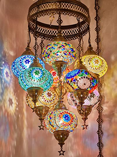 Customizable Globes DEMMEX 2019 Hard-Wired or PLUGIN 1,3,5,7,9 Globes Chandelier Lights Turkish Moroccan Mosaic Ceiling Hanging Pendant Chandelier Light Lighting 9 Big Globes PlugIN
