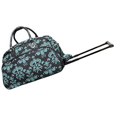 72876bf22 World Traveler 21-Inch Carry-On Rolling Duffel Bag, Black Blue Damask