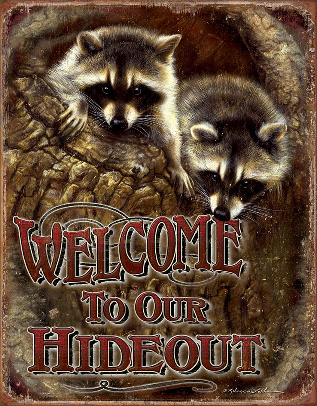 """Desperate Enterprises Welcome to Our Hideout Tin Sign, 12.5"""" W x 16"""" H"""