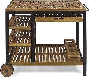 Christopher Knight Home 308856 Ishtar Outdoor Bar Cart, Teak Finish, Rustic Metal
