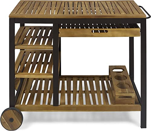 Christopher Knight Home Ishtar Indoor Wood and Iron Bar Cart with Drawers and Wine Bottle Holders, Teak Finish, Rustic Metal