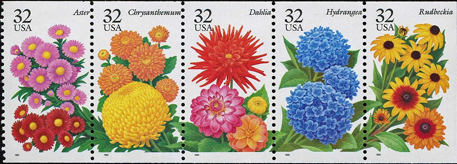 GARDEN FLOWERS ~ LATE SUMMER /& AUTUMN FLOWERS ~ ASTER ~ CHRYSANTHEMUM ~ DAHLIA ~ HYDRANGEA ~ RUDBECKIA ~ POSTAGE STAMPS #2997 Booklet Pane of 5 x 32 US Postage Stamps