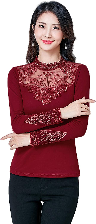 VEACTRAS Womens Sexys Lace mesh Crewneck Long Sleeve Shirt Velvet Warm Top Blouses