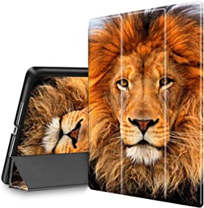 iPad 9.7 2018/2017 Case, iPad Air 2/Air Case, Spsun Lightweight Folio Tri-fold Cover (with Pencil Holder) with Auto Wake/Sleep Smart Case for Apple ipad 6th/5th Gen - Brown Lion