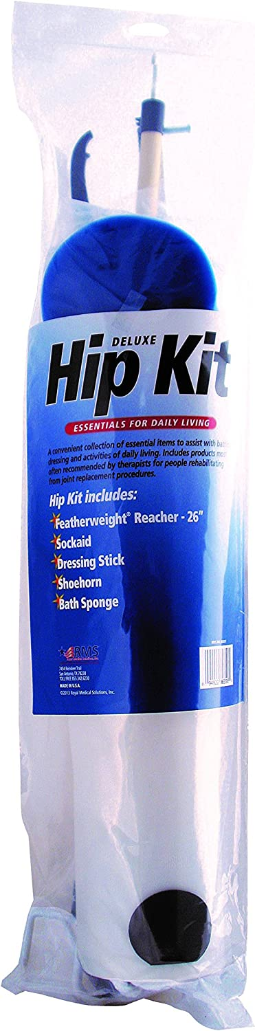 RMS Hip Kit - Premium 5-Piece Hip Knee Replacement Kit - Ideal for Recovering from Hip Replacement, Knee or Back Surgery, Mobility Tool for Moving and Dressing (26 Inch Reacher): Health & Personal Care