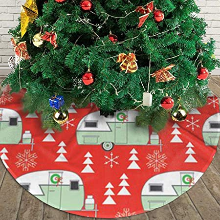 6 Pcs Christmas Tree Ornaments Red Bordeaux Wood Ice Skates Ski Sled Trailer