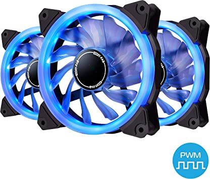 EZDIY-FAB Ventilador de Anillo de 120mm PWM LED,Ventilador de Caja PWM LED,Enfriador de CPU y Radiadores,Azul 4-Pin 3 Pack: Amazon.es: Electrónica