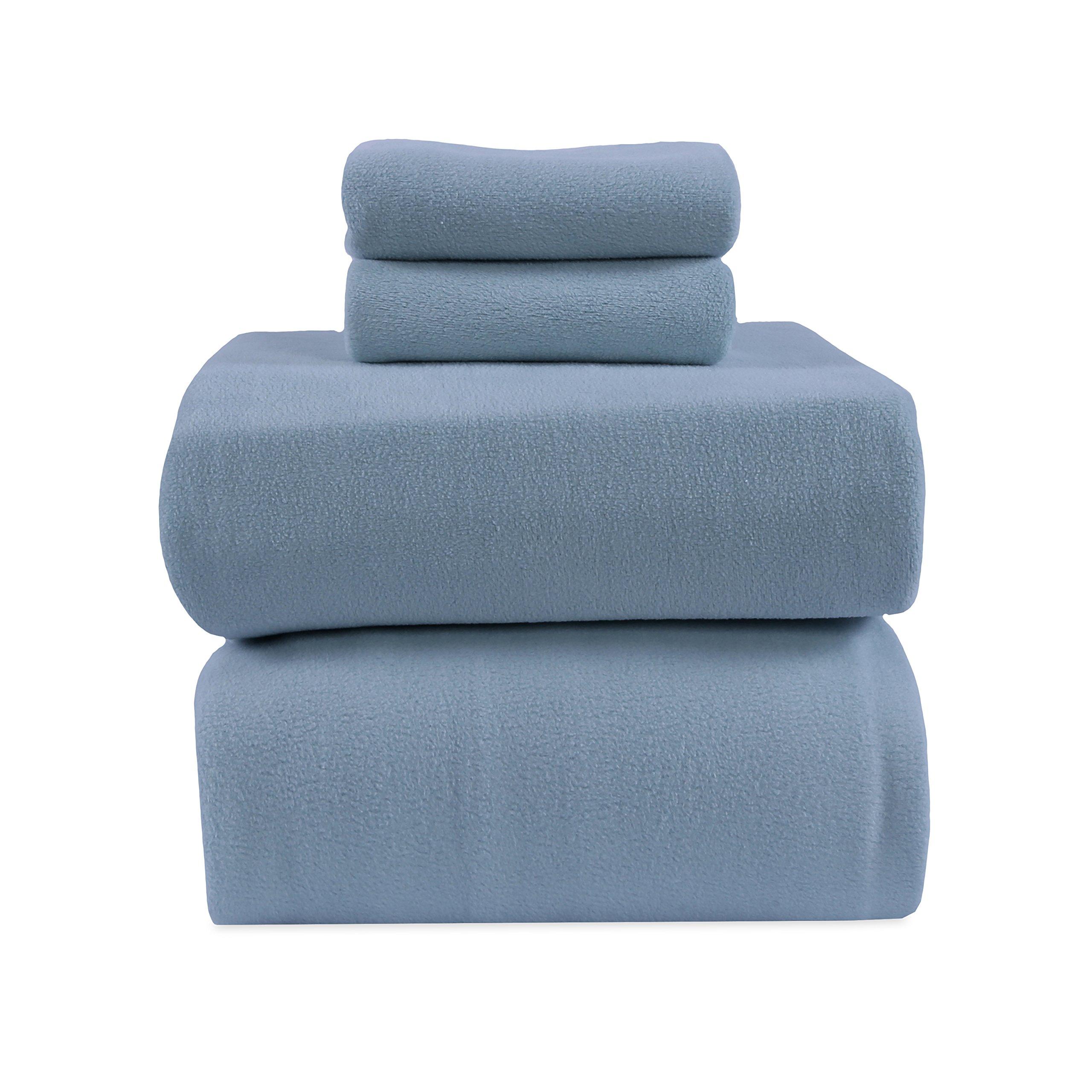 Berkshire Blanket Original Microfleece Sheet Set Fleece, Full, Spa Blue