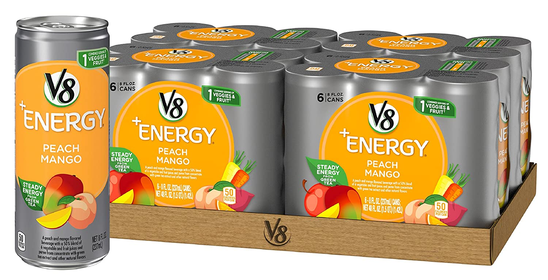 V8 Energy Review >> Amazon Com V8 Energy Juice Drink With Green Tea Peach Mango 8