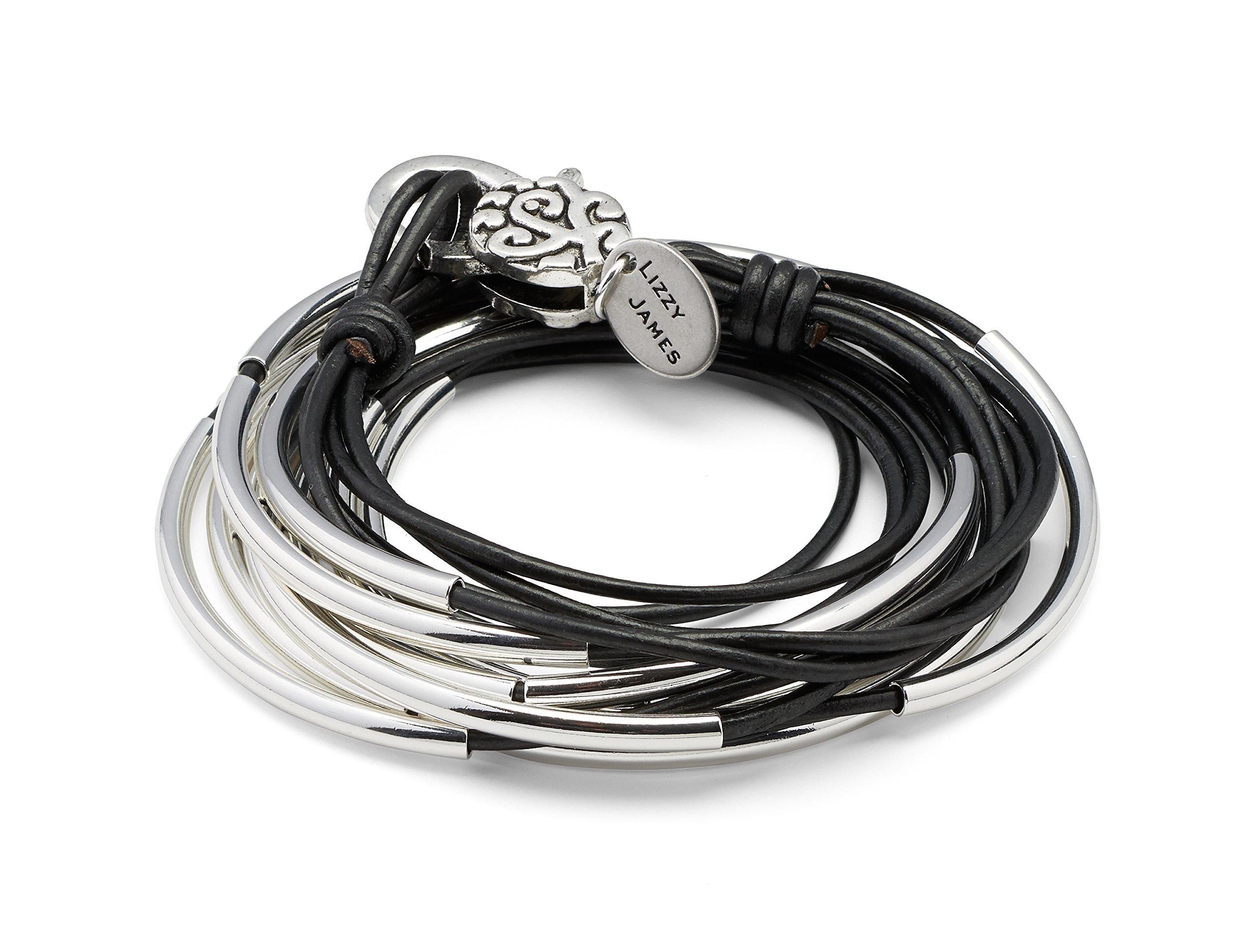 Lizzy Classic Silverplated 4 Strand Metallic Gunmetal Leather Wrap Bracelet (Large (6 5/8'' - 7''))