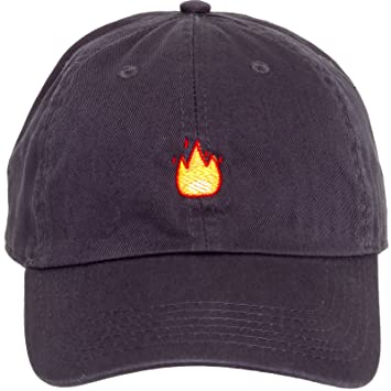 b9714e094e1 Newhattan 100% Cotton Flame Emoji Adjustable Dad Hat - Sport Cap  (Charcoal)