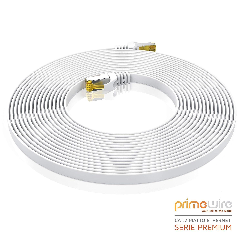 Cavo Patch  Cavo a schermatura U//FTP PIMF con connettori RJ45 Cavo LAN Ethernet Gigabit 10000 Mbit//s Piatto 10 x 1m Cavo di Rete Cat 7 Piatto Bianco 10 Pezzi Router Modem Access Point Switch