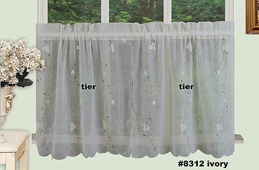 White Battenburg Lace Kitchen Curtain Valance 24 Tiers 3pcs Creative Linens Home Garden Curtains