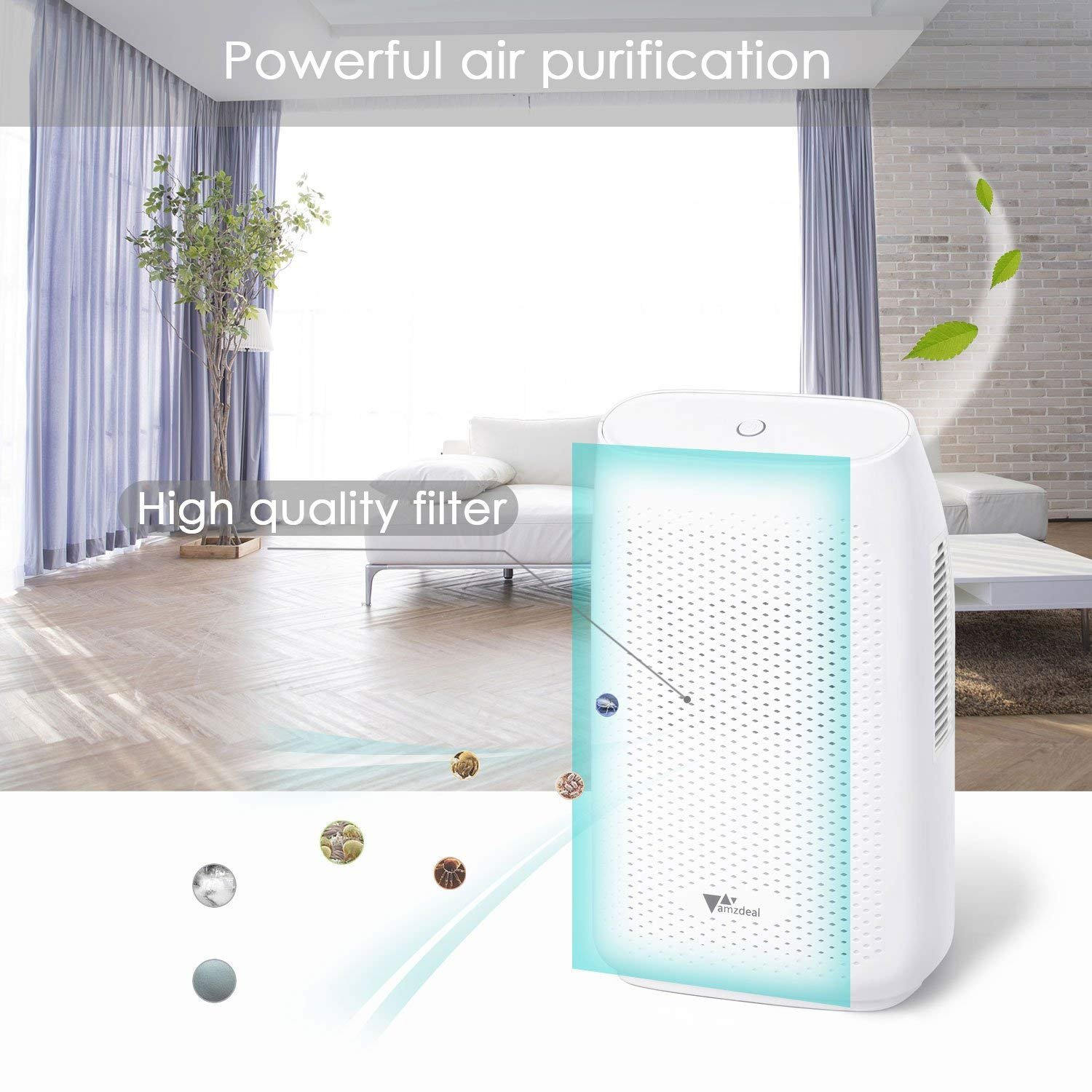 amzdeal Dehumidifier for Home Small Dehumidifier Mini Electrical Quiet 700ml (24fl.oz) Capacity Suitable for Bedroom Basement Bathroom(1200 Cubic Feet or 215 sq ft) Auto Off to Remove Damp, Moisture by amzdeal (Image #2)