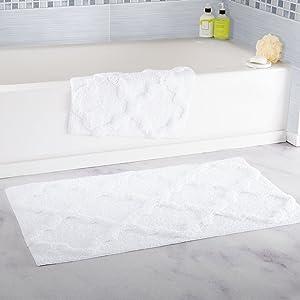 Lavish Home 100% Cotton 2 Piece Trellis Bathroom Mat Set - White