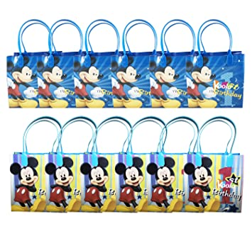 Amazon Com 12pc Disney Mickey Mouse 1st Birthday Party Loot Bags