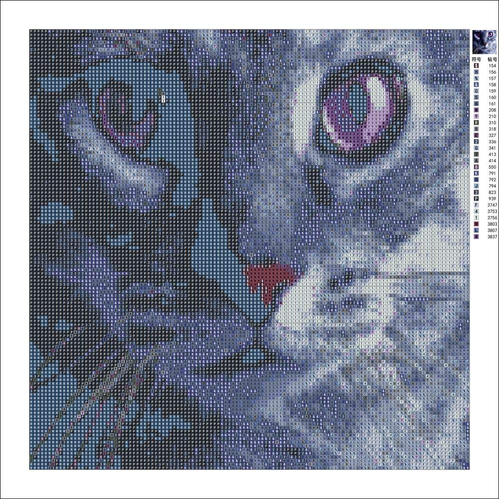 Karida 5D DIY Diamond Painting Full Square Drill Purple Eye Cat for Wall Decoration 12X12 inches Diamond Painting by Number Kits