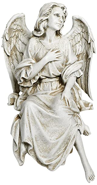 Joseph Studio 64553 Tall Sitting Angel Looking Up Statue, 12 Inch