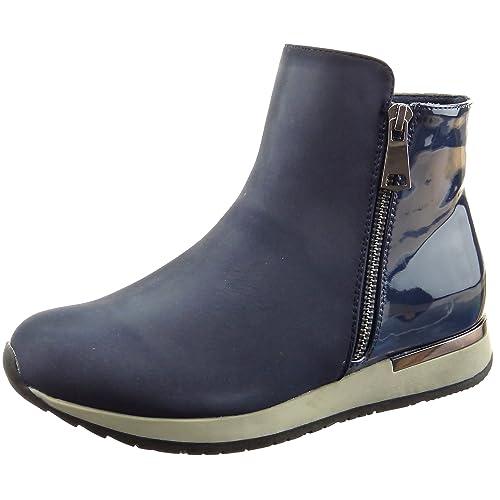 Sopily - Zapatillas de Moda Botines A medio muslo mujer brillantes cremallera Talón Plataforma 3 CM - Azul FRF-4-F522 T 41: Amazon.es: Zapatos y ...