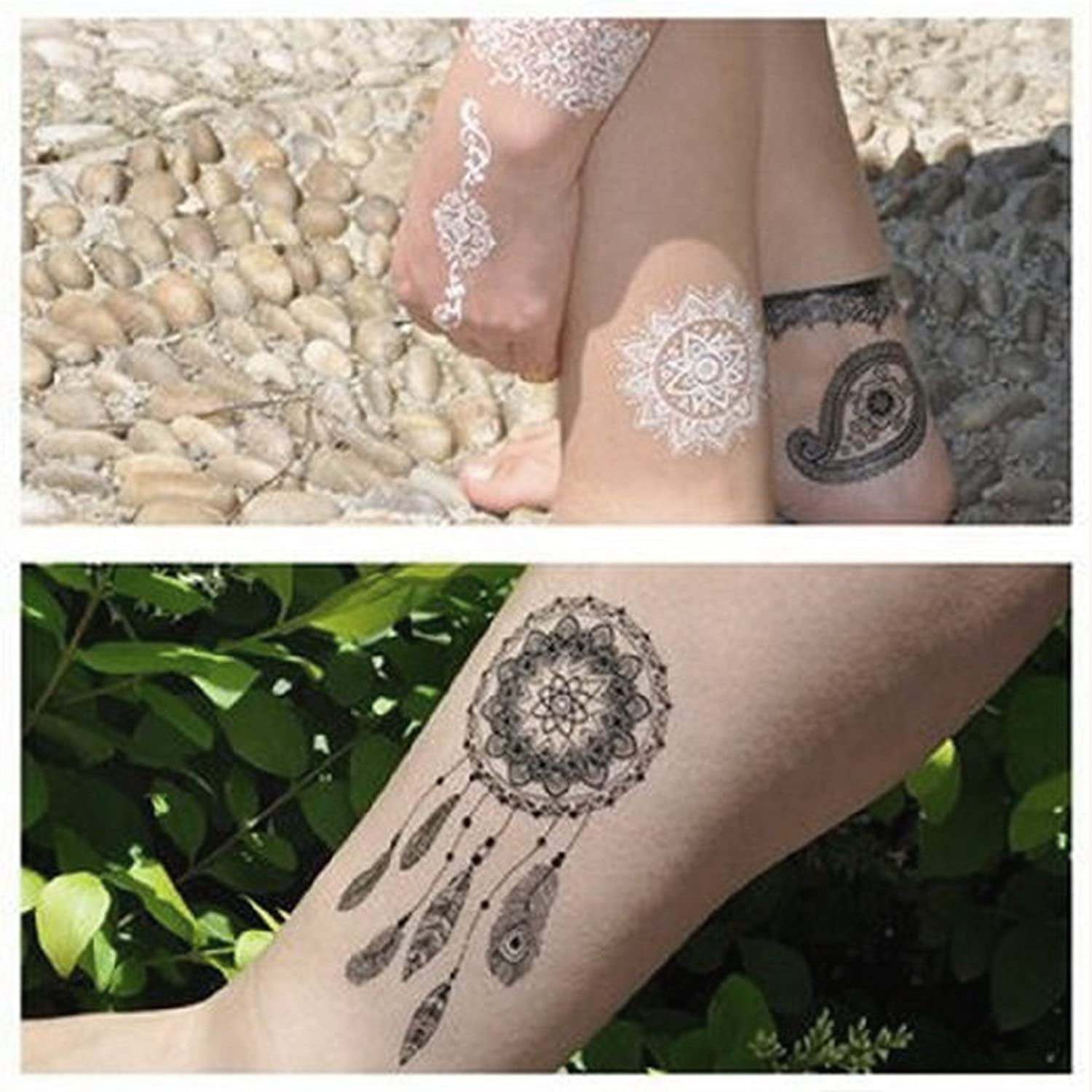 668dd6927 Amazon.com: Glamorstar Temporary Tattoo Stickers, Fashion Black Lace 4  Different Sheets Waterproof Body Art Tattoo Sticker for Women, Teens &  Girls (A): ...