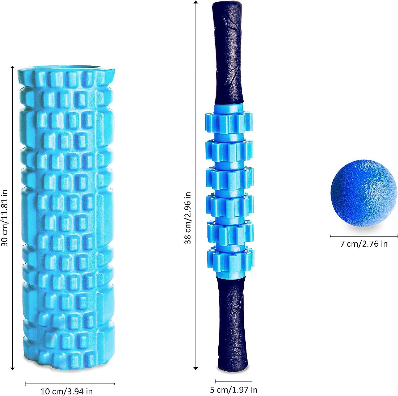 VELOVITA Set de masaje de 3 piezas incluye bolsa de transporte /• Kit profesional de fitness /• Aparato de masaje para entrenamiento de fascia 1 x bola de masaje 1 x rodillo de masaje Yoga Retreat /• 1 x rodillo de fascia