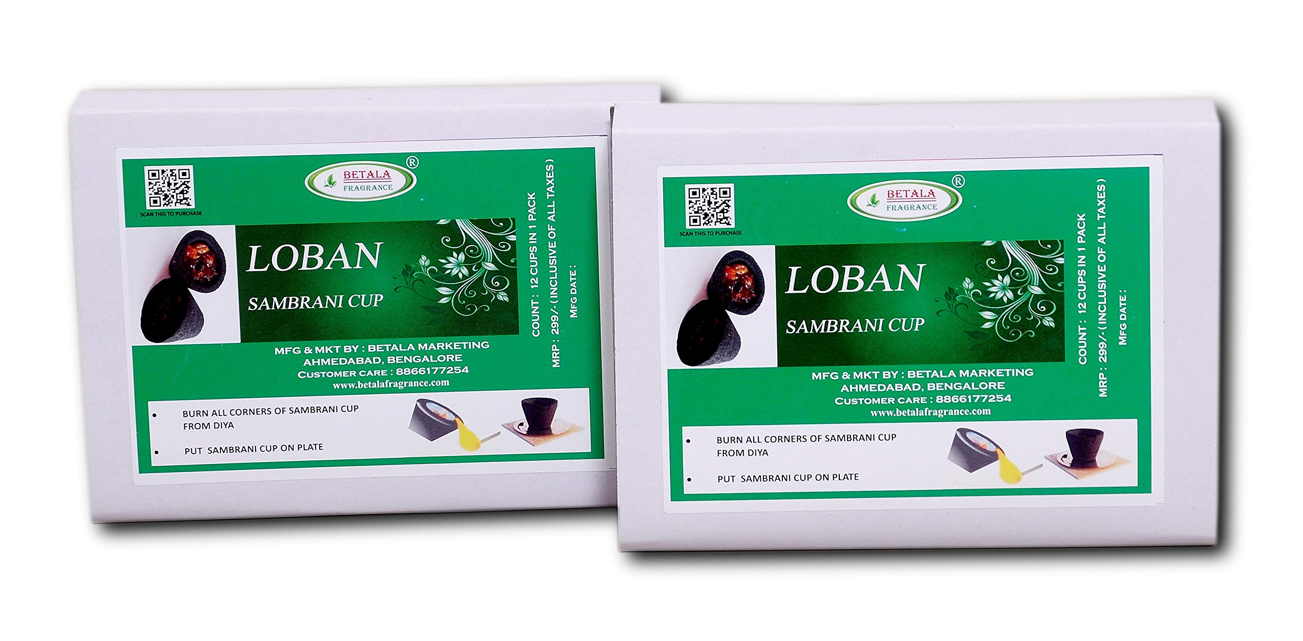 Betala Fragrance Loban Sambrani Dhoop Cup, Pack Of 24 Cups With Burner Plate