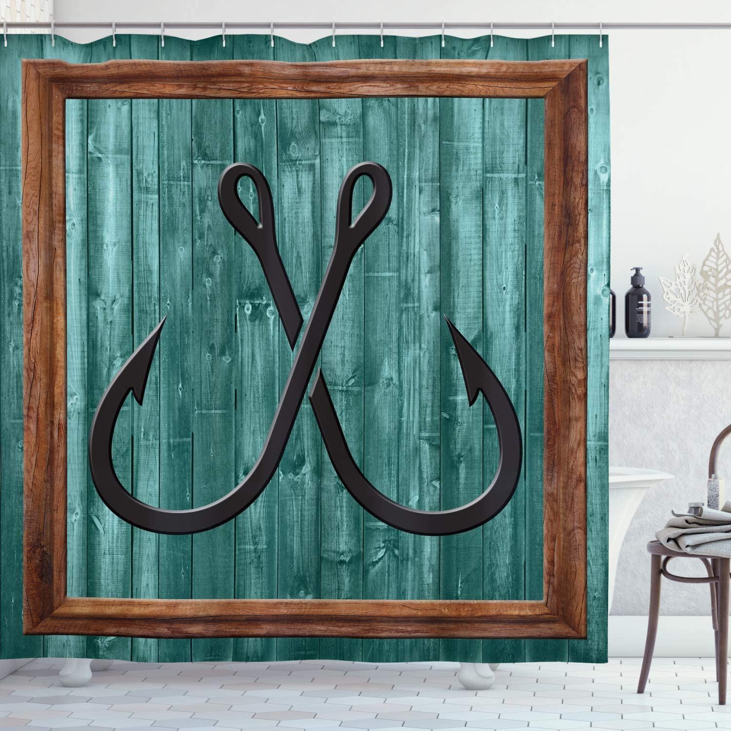 Ambesonne Nautical Shower Curtain, Fishing Lures Anchor Modern Abstract Painting Wooden Frame Rustic, Cloth Fabric Bathroom Decor Set with Hooks, 70