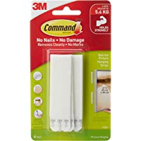 Command Picture Hanging Strips, Narrow White, Holds up to 12 lbs. (17207-ES)