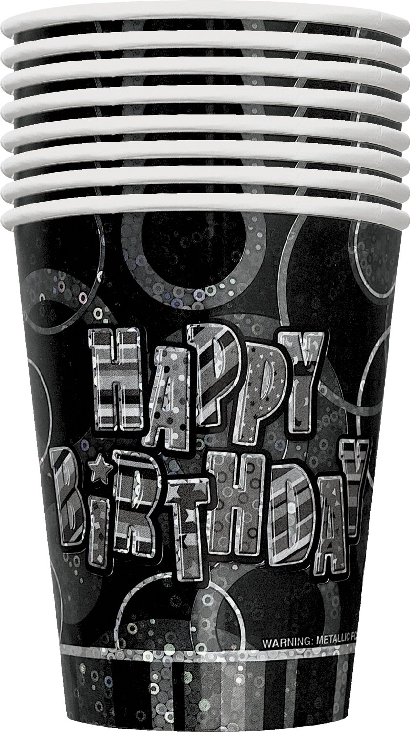 Pack of 8 Unique Party 28476-9oz Prism Glitz Black Birthday Paper Cups