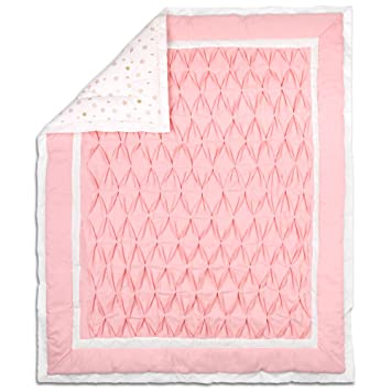 Amazon Com Coral Pink Pleats And Gold Stars Baby Crib Coverlet By