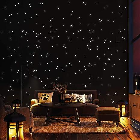 dise/ño de cielo estrellado para habitaci/ón de los ni/ños y ni/ñas Adhesivos luminosos para pared LATTCURE 6 unidades de luna y estrellas fluorescentes autoadhesivos