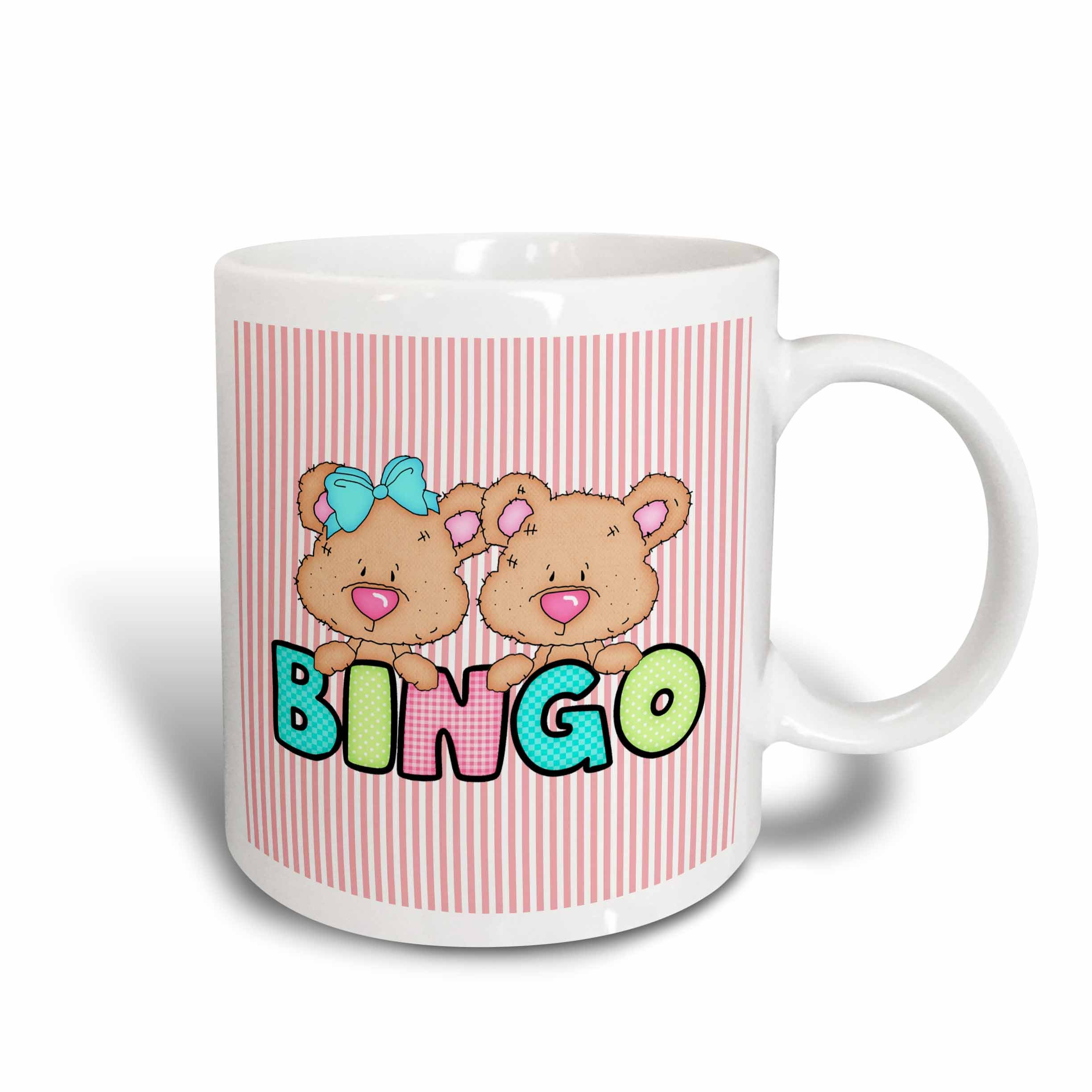 3dRose Cute Bingo Bears with Text on Striped Background Ceramic Mug, 15-Ounce by 3dRose