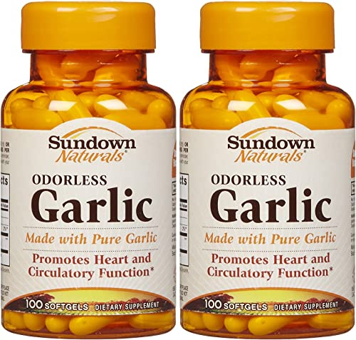 Sundown Naturals Odorless Garlic Softgels, 100 ct, 2 pk
