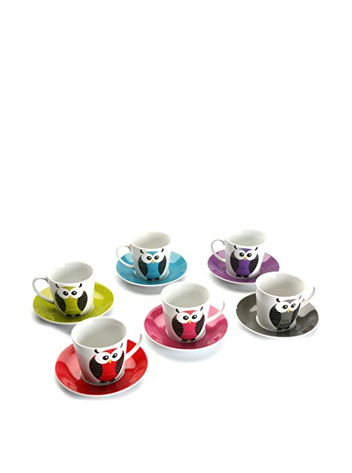 Versa 20090028 - Juego de 6 tazas para té, diseño búhos