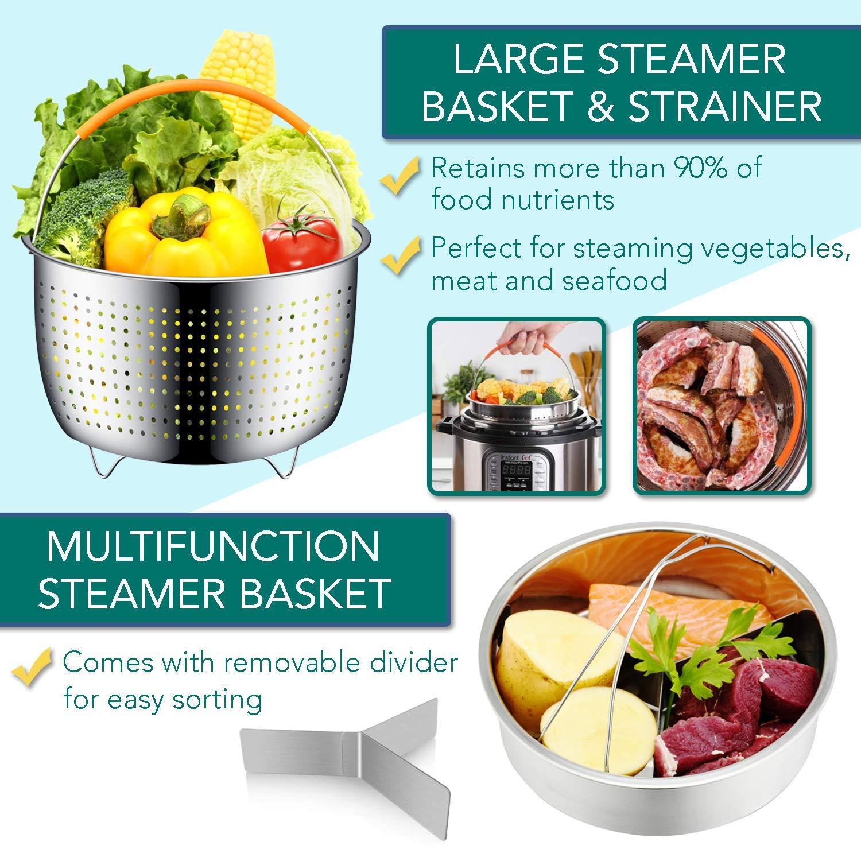 Instant Pot Accessories Set by LeafLife | Compatible with 5,6,8 Qt Instapot- Steamer Baskets, Springform Pan, Egg Bites Mold & More (BONUS RECIPES) by LeafLife (Image #2)