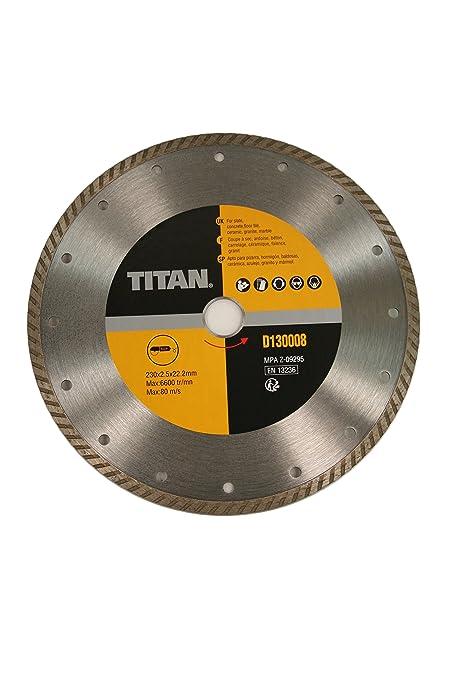 Disco Diamante Turbo 230 mm Titan D130008 Copa en seco Hormigón Granito Azulejos bordes crénelés
