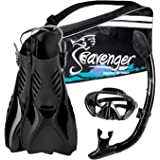 Seavenger Voyager Advanced Snorkeling Set with Panoramic Mask, Trek Fins, Dry Top Snorkel & Gear Bag